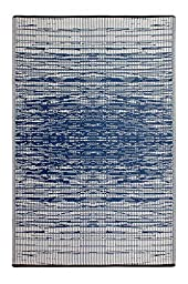 Fab Habitat Reversible, Indoor/ Outdoor Weather Resistant Floor Mat/Rug Brooklyn - Blue (5\' x 8\')
