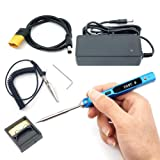 NovelLife 65W Mini TS100 Electric Soldering Iron Kit,Adjustable Temperature,Programmable STM32 Chip,Digital OLED Screen Display,Fast Internal Heating with TS B2 Solder Tip,Power Supply,XT60 Power Cord (Color: Blue B2 Tip)