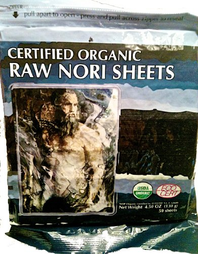 Raw Organic Nori 100 Sheets Pack - Certified Vegan, Raw, Kosher Sushi Wrap Papers - Premium Unheated, Un Cooked - Not Toasted - Bulk Buy Save!