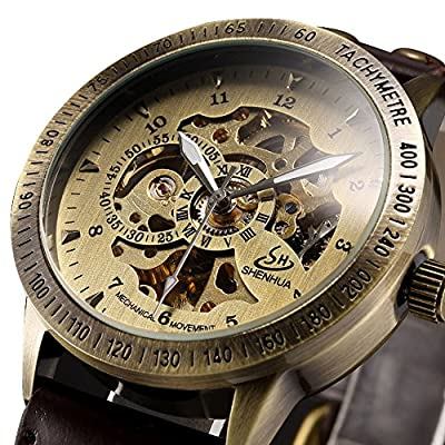 ALPS Men's Classic Luxury Skeleton Self-Winding Automatic Mechanical Watch