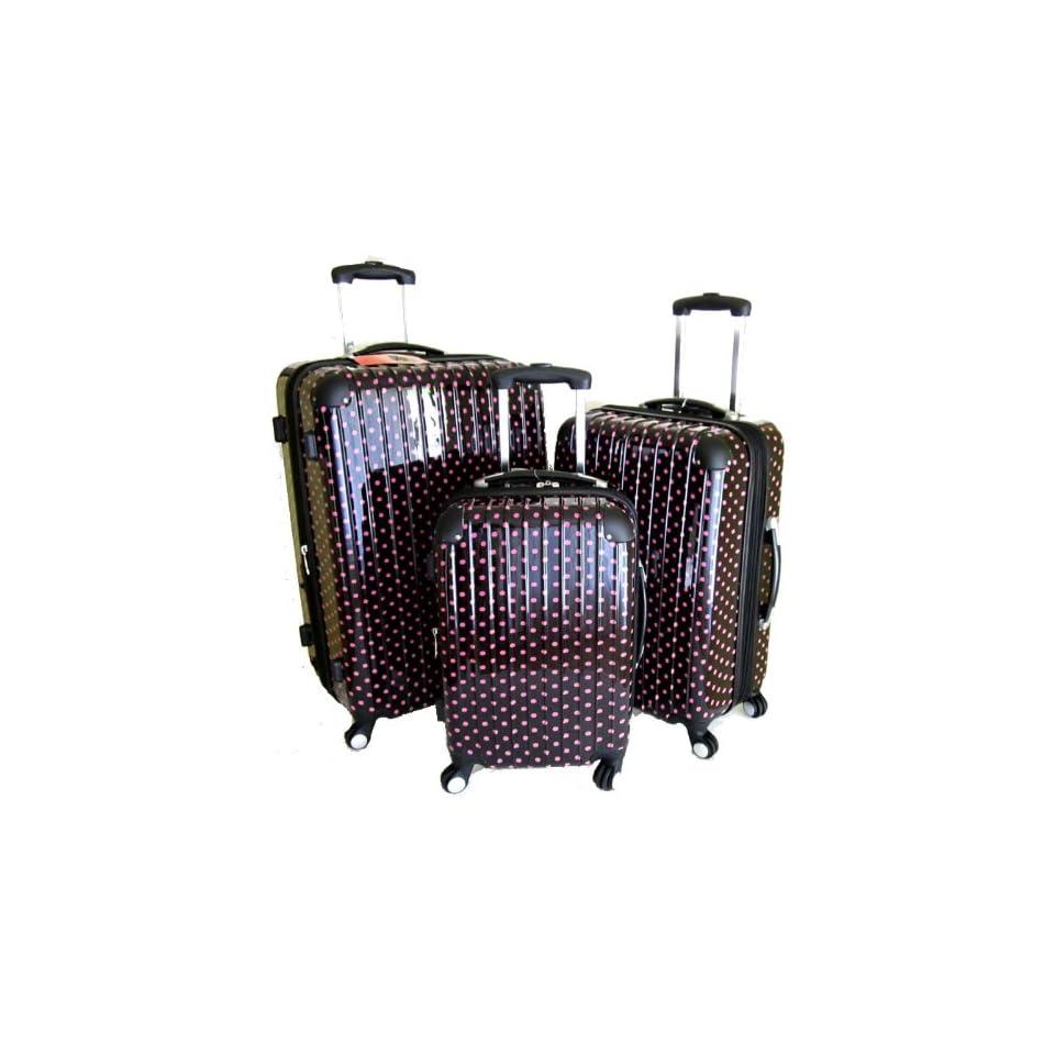 Polka Dots Hard Case Luggage Set 3pcs 360° Rotation Wheels Very Light