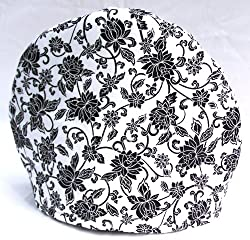Handmade Black and White Toile Print Fabric Tea Cozy Lined and Padded Cosy