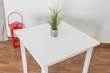 Massivholz Tisch 80x80 cm Kiefer, Farbe: Weiß