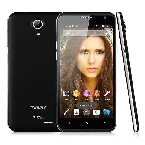 "TIMMY E86 3G Smartphone 5,5"" IPS HD Ecran Android 4.4 Quad Core MTK6582 4Go ROM Double SIM Double Caméra 5MP&2MP support WIFI GPS Bluetooth Air Gesture Wake Gestures Compatible avec Orange SFR Bouygues Free Mobistar Proximus-Noir aevc 8Go"