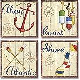 WallsThatSpeak 4 Nautical Themed Sailing Art Prints Sailboat Boating Decor, 12 by 12-Inch, Beige