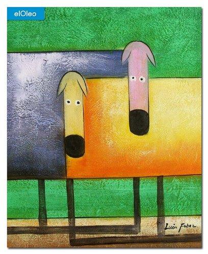 elOleo Pop Art – Das lustige bunte Hundeduo 50×40 Gemälde auf Leinwand handgemalt 83150A bestellen