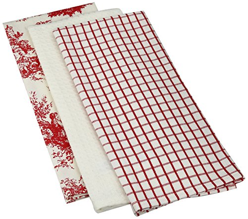 Mahogany Toile Kitchen Towel, 18 by 28-Inch, Red, Set of 3 (Red Toile Dishes compare prices)