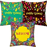 Best Festival Gifts Diwali Christmas New Year Set Of 3 Brown Green Fire Crackers & Colourful Welcome Printed Polyester...