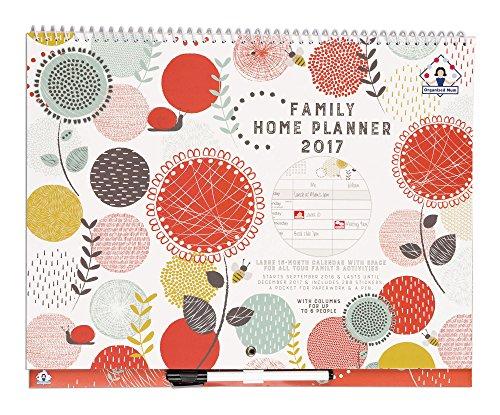 Organised Mum Family Home Planner Calendario 2017 Calendario familiare con visualizzazione mensile con 6 colonne. Va da ora fino al dicembre '17. Calendario da parete, dotato di adesivi, grande tasca in carta e penna a scatto