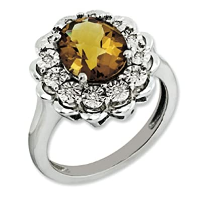 Sterling Silver Rough Diamond and Whiskey Quartz Ring - Size P 1/2 - JewelryWeb