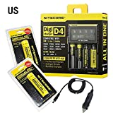 Moppi NITECORE Digicharger D4 LCD Charger+2x18650 3400ma+Car Charger