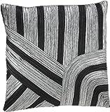 Shahenaz Home Shop Clove Tri Colour Heavy Poly Dupion Cushion Cover - Black and Grey