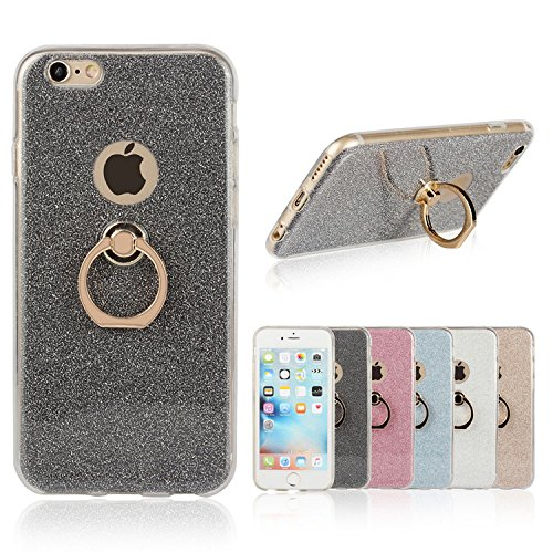 iPhone 6s Case, Ranrou TPU Soft Sparkle Powder Back Cover with 360 Degree Rotating Ring Stent for iPhone 6 and iPhone 6s (4.7 Inch)(Black)