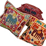 Ufc Mart Colorful Elephant Patchwork Cushion Cover Set, Color: Multi-Color, #Ufc00432