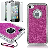 Pandamimi Deluxe Hot Pink Chrome Bling Crystal Rhinestone Hard Case Skin Cover for Apple iPhone 4 4S 4G With 2 Pcs Screen Protector and Pink Stylus