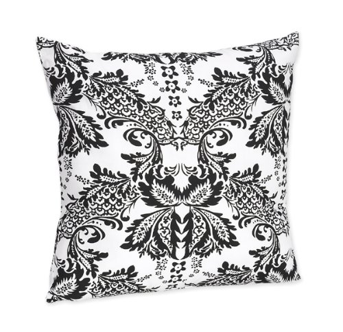 Black and White Floral Damask Accent Pillow