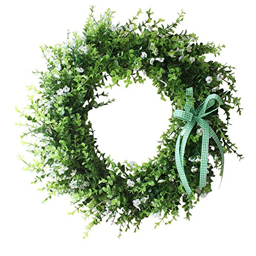 Spring Wreath with Green Leaves Little White Silk Flowers Home Decor (Spring Wreaths Outdoor compare prices)