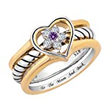CharmsStory Sterling Silver I Love You To The Moon And Back Promise Rings Heart Wedding Rings Size 8