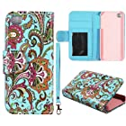 Blue Paisley Leather Wallet Flip ID Pouch Apple Iphone 5, 5S at&t. Verizon, Sprint, C Spire Case Cover Hard Phone Case Snap-on Cover Protector Rubberized Touch Faceplates
