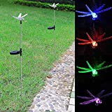 Outdoor Garden LED Solar Landscape Path Light Color Changing Christmas Party Decor Lamp Patio Yard Decoration Lighting(2 Set, Dragonfly)