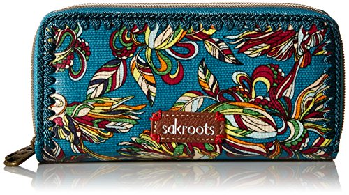 sakroots-artist-circle-double-zip-wallet-teal-treehouse