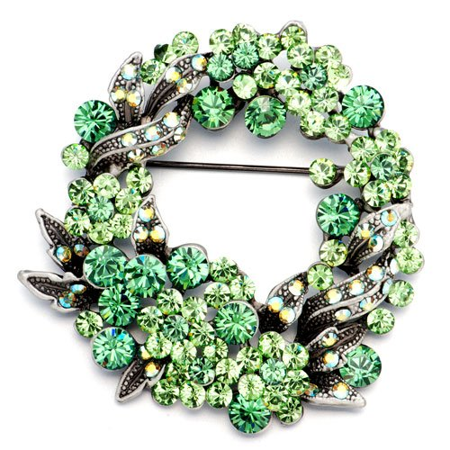 Christmas Gifts Pugster May Birthstone Peridot Rose Flower Wreath Brooches And Pins