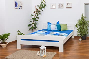 "Bett ""Easy Sleep"" K6, 180 x 200 cm Buche Vollholz massiv weiß lackiert"