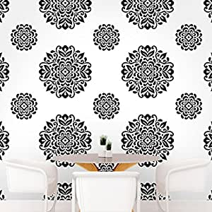 DeStudio Floral Circle Tile Chalkboard Wall Decal, Size SMALL & Color : BLACK