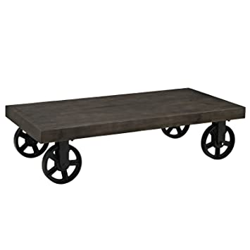 Modern Stalwart Wood Top Coffee Table