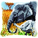 Vervaco Latch Hook Cushion Elephant Baby and His Mother