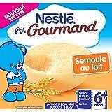 Nestlé Bébé P'tit Gourmand Semoule au Lait - Laitâge dès 6 mois - 4 x 100g - Lot de 6 (24 coupelles de 100g)