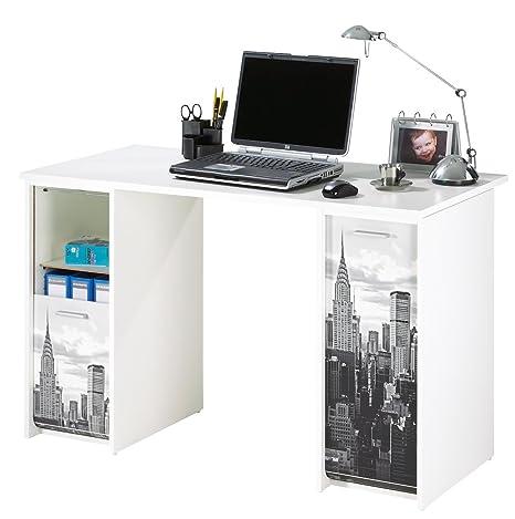 Simmob SCOUT122BL500 New York 500 ufficio di 2 alloggiamenti, con tende, stampati in legno, 65 x 120 x 74 cm