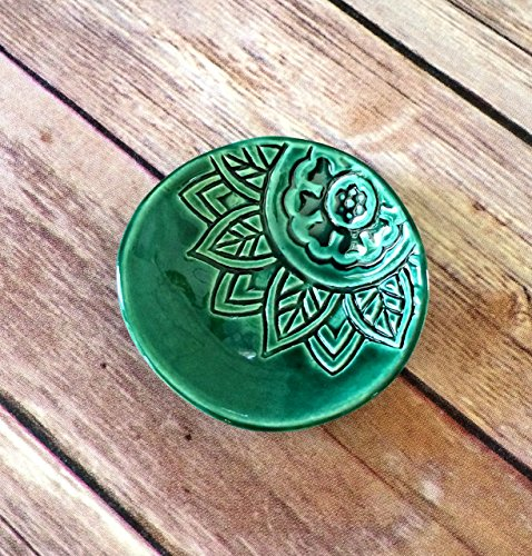 Green Ring Dish - Handmade Jewelry Bowl - Bohemian / Boho dish with stamped flower and emerald green glaze