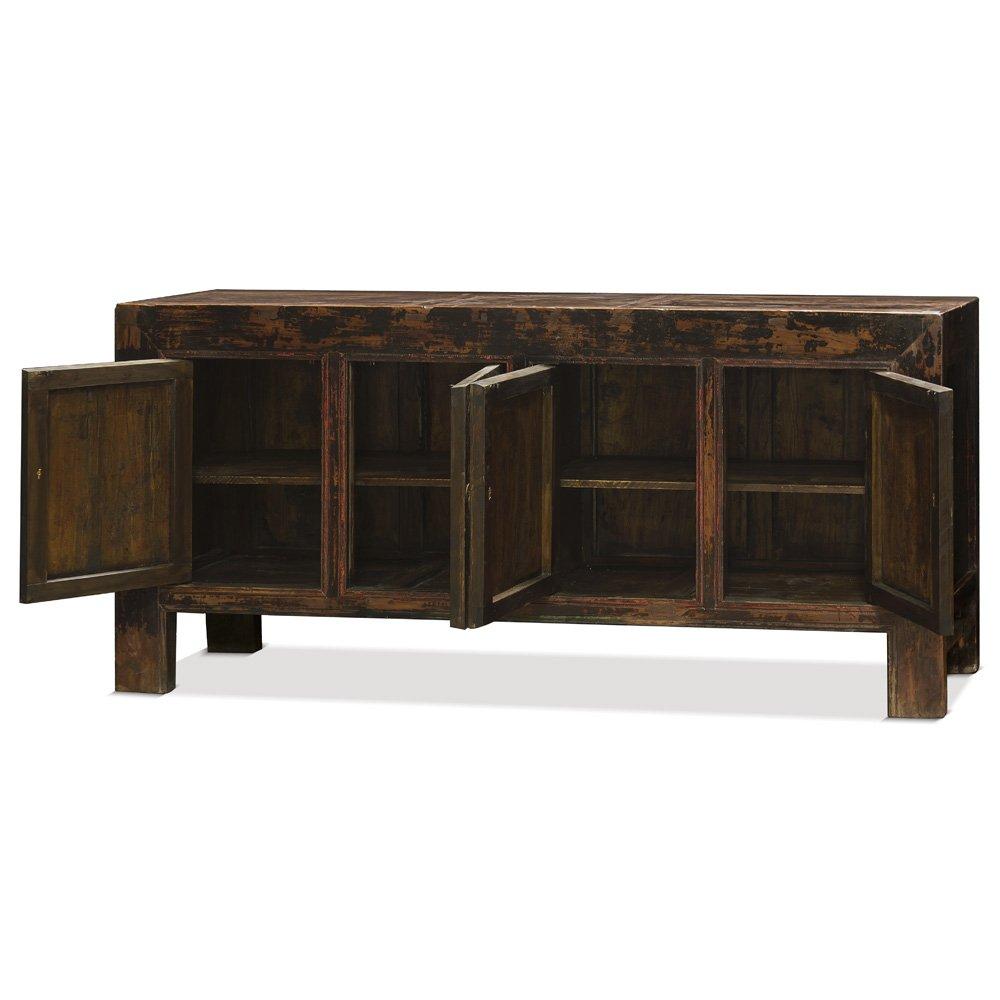 China Furniture Online Elmwood Sideboard, Vintage Tibetan Cabinet Distressed Red Finish 1