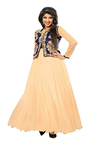 5a89f90175 Blissta Beige partywear Anarkali Long Net Gown Dress material available at  Amazon for Rs.1399