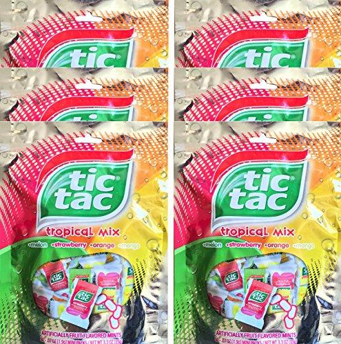 Tic Tac Tropical Mix Melon, Strawberry, Orange, Mango, Mini Packs Net Wt 3.3 Oz (6) (Tic Tac Mini Packages compare prices)