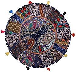 Handmade Khambadia round Cushion cover vintage gaddi throw boho bohemian pillow embroidered pillow couch cover floor cushion cu2208