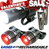 Vision II® Lifetime Warranty - 860 Lumen USB Rechargeable Bike Light - Two FREE USB Tail Lights, Extra Battery, Carrying Bag - Fits All Bikes, Easy Install (No Tools), Quick Release, Water-Resistant, Front & Back Mount - Limited Time Offer - Try RISK-FREE!