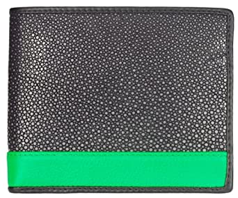 Stingray Leather Bifold Wallet, Polished Stingray Leather, Black w/ Green Stripe