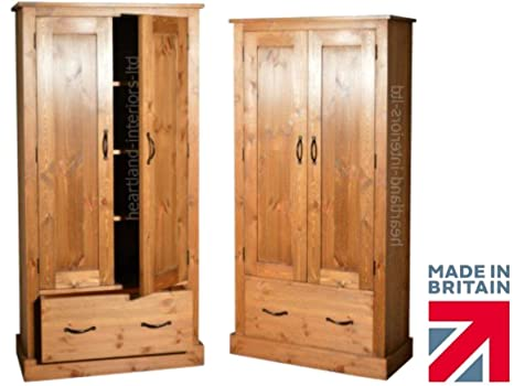 "*Solid Pine Cupboard, 5ft x 30"" Handcrafted & Waxed 2 Door Dual Purpose School, Filing, Larder, Pantry, Shoe, Hallway or Kitchen Cabinet. Choice of Colours. No flat packs, No assembly (CUPS5)"