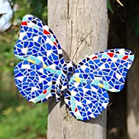 Blue Coloured Mosaic Wall Mountable Butterfly Garden Wall Art Ornament from Gardens2you