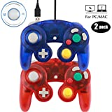 Mekela Classic Wired USB PC Controller Joystick Gamepad resembles Gamecube Game Cube for PC Windows MAC (USB Clear Red and Clear Blue) (Color: USB Clear Red and Clear Blue)