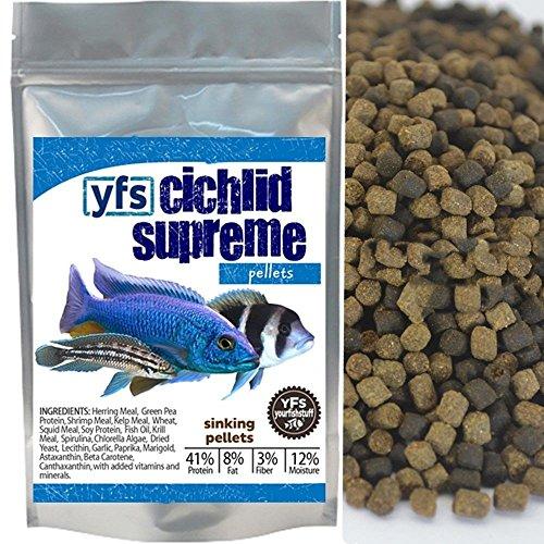 YFS Cichlid Supreme Sinking Pellets 3.0mm Bulk Aquarium Fish Food (1 pound) (Cichlid Food Bulk compare prices)
