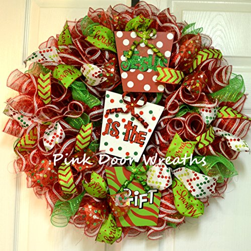 Jesus is the Gift Christmas Wreath Mesh Door Wreath; red, white, lime green