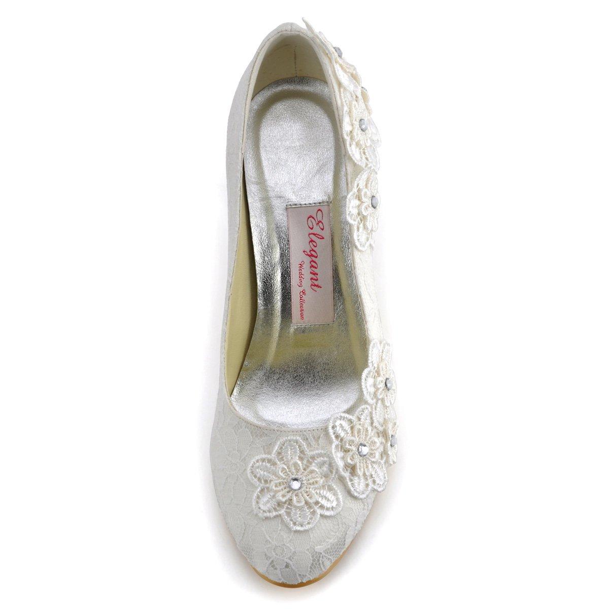 ElegantPark Women Vintage Closed Toe Pumps High Heel Flowers Lace Wedding Bridal Dress Shoes 5