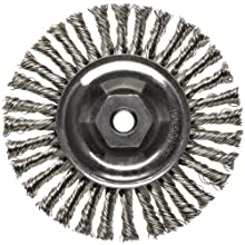 Weiler Dualife Narrow Face Wire Wheel Brush, Threaded Hole, Stainless Steel 302, Stringer Knotted