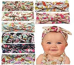 Qandsweet Baby Girl Elastic Hair Hoops Headbands (8pack 0-48m)