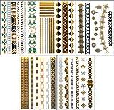 フラッシュ タトゥー メタリック シャイニング ジュエリー / ゴールドやシルバーに輝く タトゥー デザイン シール 【 112デザイン 26バリエーションから選べます 】 (ジャンナ  Gianna(5シート))