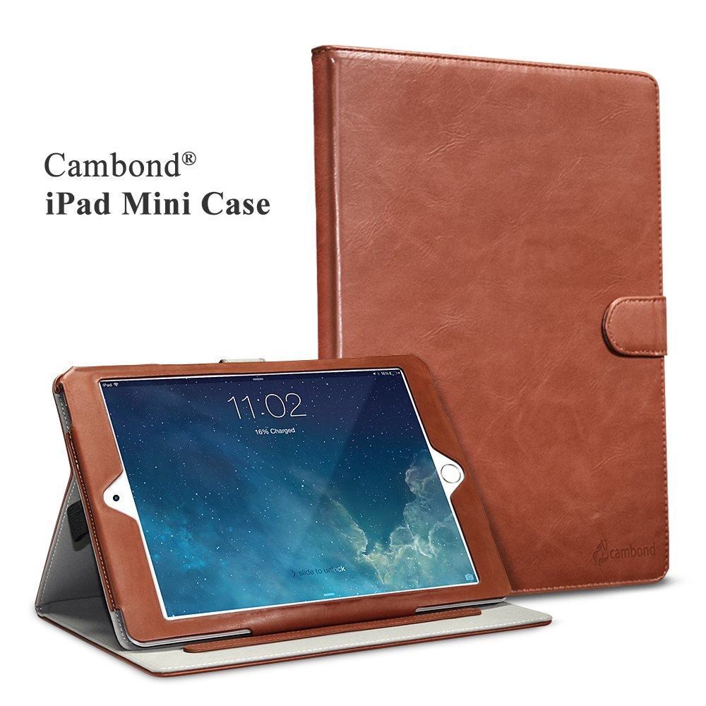 iPad Mini Case, Apple iPad Mini 2 Case, iPad Mini 3 Case Cover, Cambond Ultra Slim / Light Weight Smart Stand Case Cover with Card Slots and Stylus Holder, Protective Premium PU Leather (Brown)