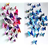 ElecMotive 12 Purple + 12 Blue 3D Butterfly Stickers Home Decoration DIY Removable Vivid Man-made Lively DIY Decor Wall Stickers for Wall Decor Home Decor Wall Art Kids Room Bedroom Living Room Decor